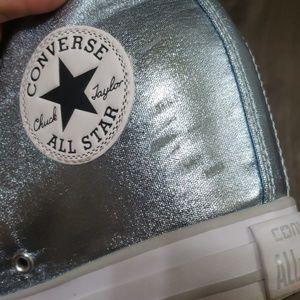 Converse Shoes - Converse platform high top shimmer blue